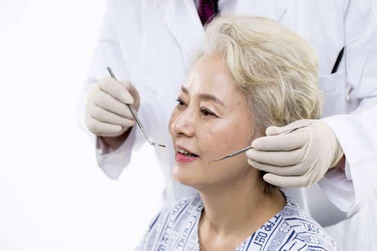 Elder woman at dental check up